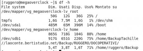 Verifica lo spazio su disco con il comando df