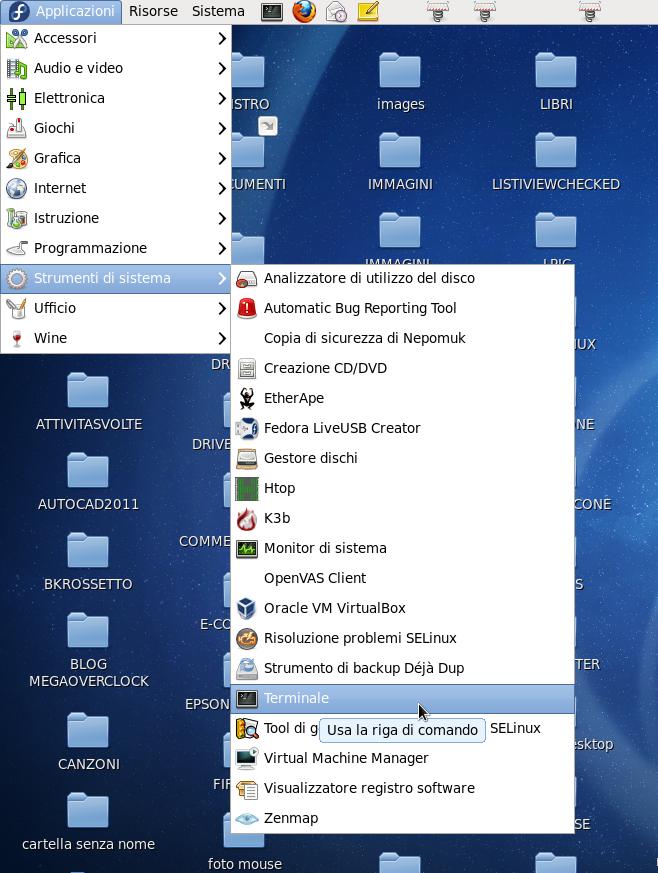 Aprite il terminale da GNU/Linux