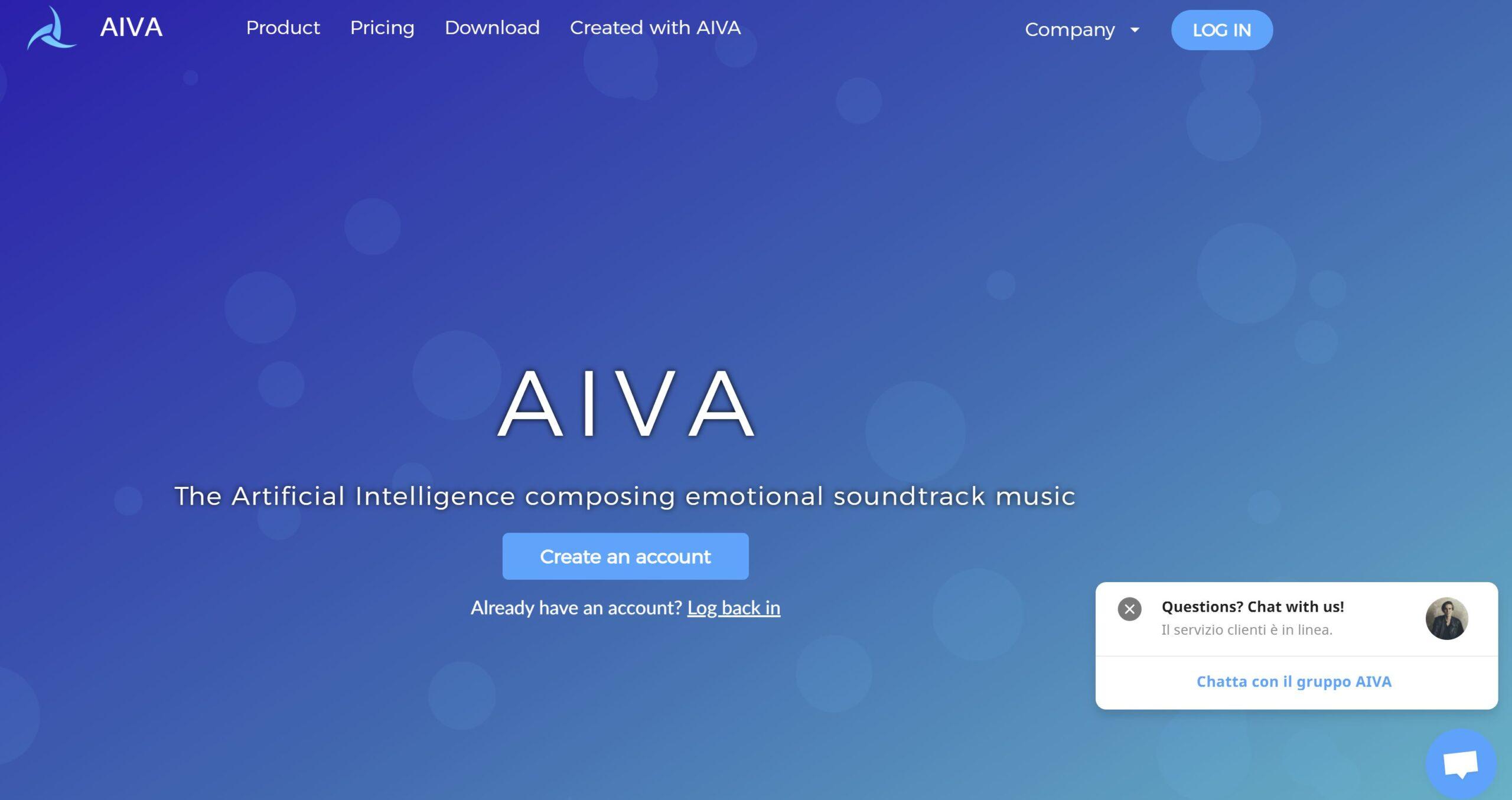 AIVA, IA che genera un brano musicale