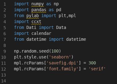 Le prime righe di codice per l'importazione delle varie librerie