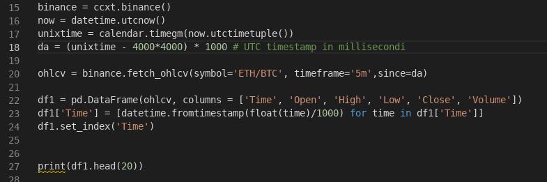 Il resto del codice ove si istanzia l'oggetto ccxt e si richiama il metodo binance
