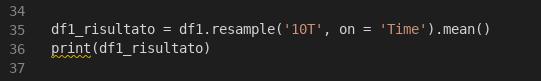 Applicazione del metodo resample al dataframe df1. Il risultato è quello di riorganizzare i dati secondo intervalli di tempo differenti